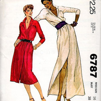 McCall's 6787 Sewing Pattern 70s Retro Disco Style Maxi Midi Classic Wrap Dress Deep V Neck Notched Collar Sexy Uncut FF Bust 38
