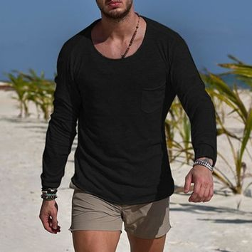 Autumn Long Sleeve Men's T-Shirts Slim Fit Muscle Tee Joggers Bodybuilding Fashion Men Clothing Tshirts Hombre Masculino Solid