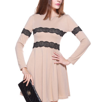 Long Sleeve Striped Lace Accent A-Line Pleated Mini Dress