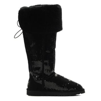 ESBON UGG 3173 Tall Overknee Sparkles Women Men Fashion Casual Wool Winter Snow Boots Black