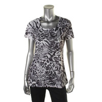 Style & Co. Womens Juniors Embellished Animal Print Pullover Top