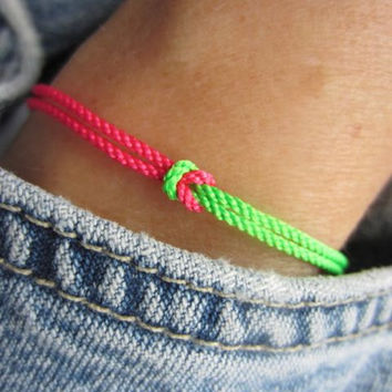 Preppy Neon Pink and Spring Green Friendship Bracelet with a Square Knot and Sterling Silver Ends and Clasp