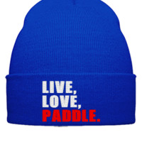 LIVE LOVE PADDLE embroidery hat - Beanie Cuffed Knit Cap