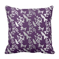 Plum Purple Floral Humming-birds Gray Silver Throw Pillow