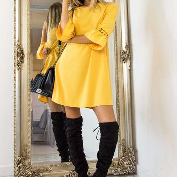 Yellow Speaker Sleeve Lace Stitching Dress