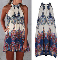 Fashion Women Boho Dress Summer loose Printed Halter Style Sleeveless Hippie Mini Dress Plus Size Women Clothing Vestidos Beige