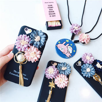 New Luxury Flowers with Tassel Matte iPhone Case