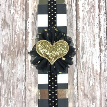 Black and Metallic Gold Polkadot Planner Band with Puffy Gold Glitter Heart on Black & Gold Flower