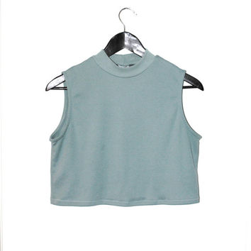 cropped turtle neck TANKearly 90s minimalist TEAL green CROP top turtleneck tank top
