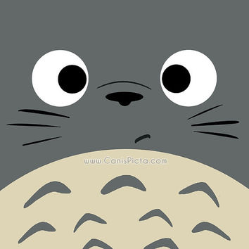 "Totoro Kawaii My Neighbor Square ""Dubiously Totoro"" 8x8 Pop Art Print Anime Grey Manga Troll Hayao Miyazaki Studio Ghibli Gift Home Decor"