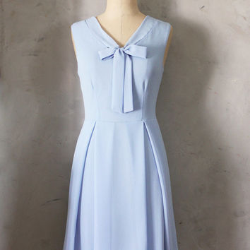 MADELINE - CORNFLOWER Light blue scarf neck tie dress// retro // vintage inspired // pleated skirt // bridesmaid dress // garden // mod