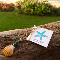 Sunrise Shell and Blue Bead Necklace