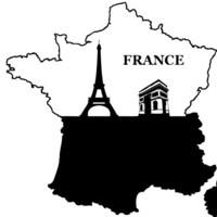 France Map Design with Eiffel Tower and Arch of Triumph -Vinyl Decal - Wall Art  - Wall Decal