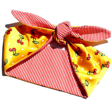 Vintage Inspired Head Scarf, Yellow with Cherries, Retro, Rockabilly