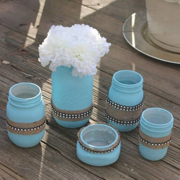 Hand Painted blue Ball Mason Jar Bathroom Set. Toothbrush Holder. House warming Gift. Home Decor. Rustic decor. Wedding Gift.