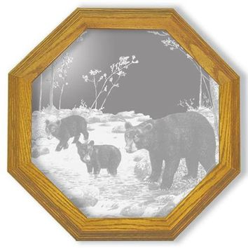 """""""Bear Feet in the Creek"""" Bear Etched Glass Art Mirrors"""