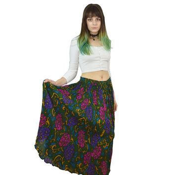 90 Floral Maxi Skirt Hippie Boho Flowy Long Thin Lightweight Cotton Dark Jewel Tones Green Ornate Pattern Gold Flower 1990s Drawstring Waist