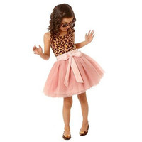Baby Girls Toddler Animal Print and Pink Tulle Skirt Dress with Bow 2T - 6