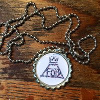 Fall Out Boy floral logo bottlecap necklace