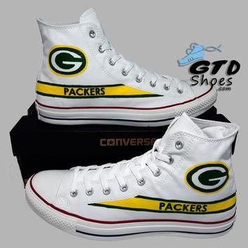 Hand Painted Converse Hi. Green Bay Packers. Football. Superbowl. White. Handpainted s