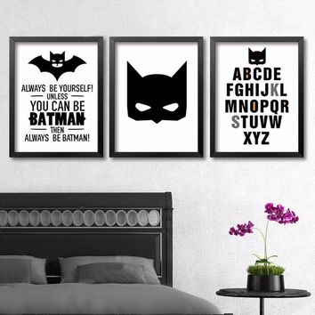 Superhero Batman Keep Clam Canvas Painting A4 Art Print Poster Always Be Yourself Cartoon Kids Rooms Wall Picture Home Decor