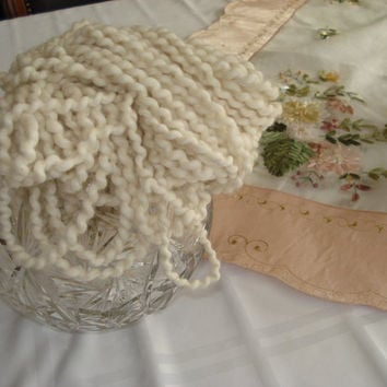 Ready to ship / PEARL  handspun 2 Ply Baby Alpaca Art YARN