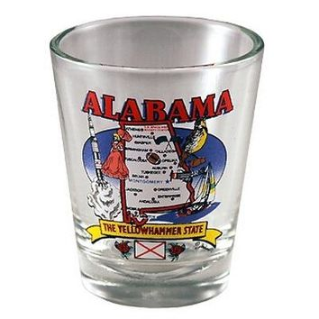 "alabama shot glass 2.25h x 2"" w state map Case of 96"