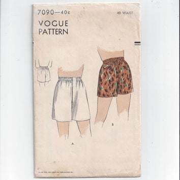 Vogue 7090 Pattern for Men's Boxer Shorts or Swimming Trunks, From 1950, Size 40 Waist, NON-Printed Pattern