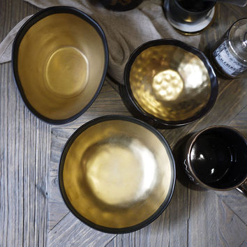 Handmade Ceramic Gold & Black Bowls.