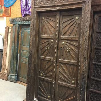 SURYA SHAKTI SunRays Farmhouse Antique Indian Doors Hand Carved Haveli Teak Wood Double Door & Frame 18C UNIQ Conscious Architecture Design