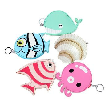 2pcs/lot Bentoy Cute Animal Octopus Fish Shell Coin Money Wallet Bag Key Chain Leather Purse Pouch For Women Zipper Purse
