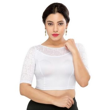 Saris and Things Silver Strech Lycra Stretchable Saree Blouse Crop Top A-31-silver