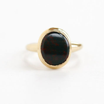 Vintage 10k Yellow Gold Bloodstone Ring - 1940s 1950s Mid-Century Size 4 Green & Red Gemstone PSCO Fine Jewelry