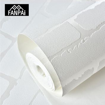 FANPAI 3D White Brick Wallpaper For Walls Roll Embossed Wall Covering Wall Papers For Living Room Bedroom Home Decor Background