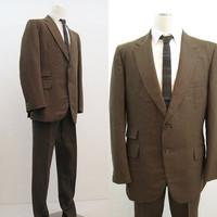 60s Suit Vintage Men's Mod Khaki Brown Green Wool Jacket and Pants