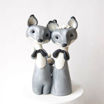Silver Fox Wedding Cake Topper by Bonjour Poupette