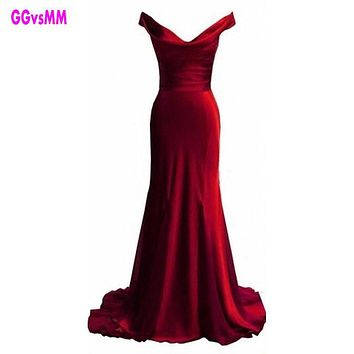 Mermaid Sexy Off-Shoulder Pleats Evening Gowns Sweep Train Cheap Red Formal Celebrity Dress New Arrival Backless Prom Dresses