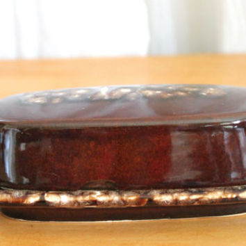 Vintage Brown Drip Glaze Pottery Butter Dish