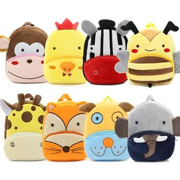 Fashion Kids Cartoon Shoulder School Bag Plush Backpack for Children Baby Girls Boys Christmas Mini Toddler Schoolbag Satchel