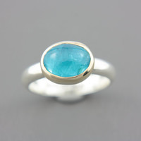 Apatite Ring 18k Yellow Gold Sterling Silver Apatite Engagement Ring Size Mixed Metals 7,5-8 Aqua Blue Gem Ring Goldsmith