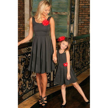 Black Grey Sleeveless Skater Fit and Flare Party Mother Daughter Dress