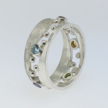 Sterling Silver Band with Peridot, Garnet, Amethyst, Topaz and Citrine