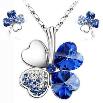 Hot sale  lucky clovers necklace Jewelry Sets Austrian Crystal Necklace Earring Jewelry Set LM-S045 Drop Shipping