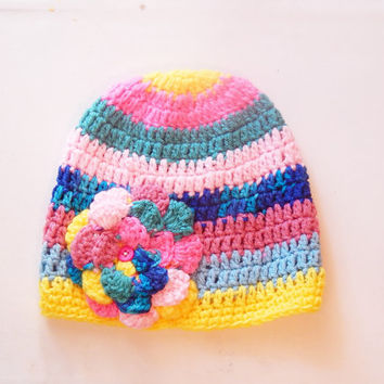 Flower Double Crochet Adult Size Hat in Multi-Colored Pink, Blue, and Yellow -- Girl's Winter Cap