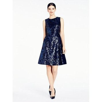 Kate Spade New York Sequin Fit and Flare Dress Navy