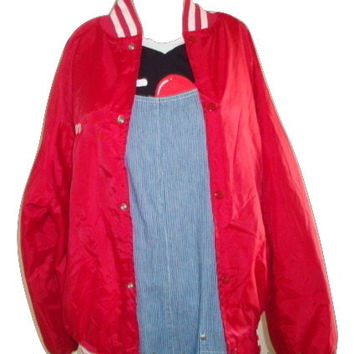 vintage retro WEST ARK red racing team 67 quilted bomber jacket medium