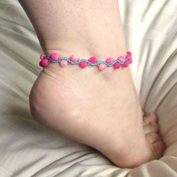 Beaded Anklet, Beaded Ankle Bracelet, Anklets for Women, Summer Anklet, Boho Anket, Seed Bead Anklet, Beach Anklet, Nonmetal Jewelry
