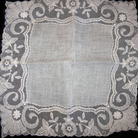 Bridal Handkerchiefs Lace Something Old Hankie handkerchief Ladies Hankies Wedding Bridal Hanky Antique Linen