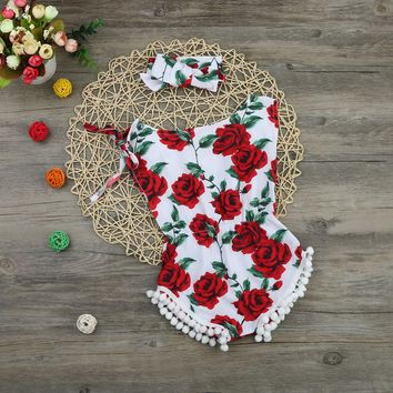 2017 new vintage floral cotton baby romper newborn baby girls pompom outfits infant newborn suit toddler kids clothing outwear
