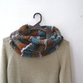 Outlander Scarf Cowl, Batik Rust Blue Gray, Mens Womens Sloutchy  Neckwarmer Hand Knitted Winter Infinity Scarf, Wool Neck Warmer Knit Gift